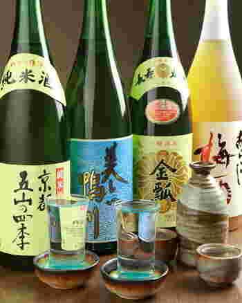 京都の地酒はもちろん、全国各地の日本酒もお料理に合わせて楽しめます。迷った時はスタッフに相談しても良いですね。