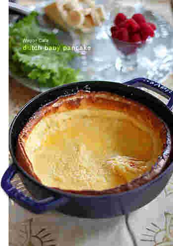 人気のダッチベイビーもストウブで。意外と簡単に出来るので、おうちでカフェ気分が味わえますよ♪