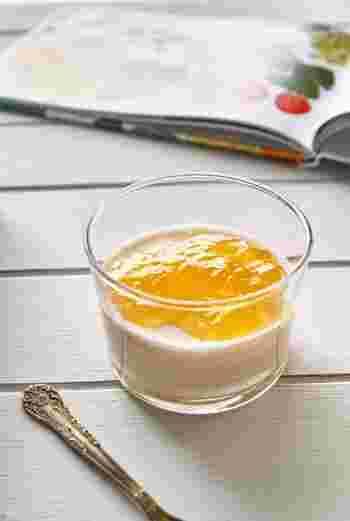 みかんババロア。みかんの果汁をたっぷり使ったフルーティーなババロア。