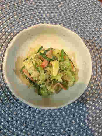 3種類の野菜が入った嬉しい1品。単調な味になりがちなお弁当の中に、青じその香りがいいアクセントになります。
