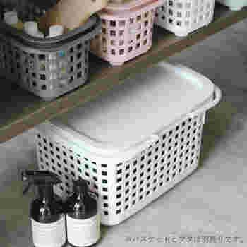シンプルなデザインなので、おうちの収納にもぴったりです。清潔感のあるホワイトはランドリールームなどによく合います。