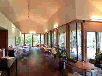 ガラス張りの店内は開放感たっぷり。偕行社や美しい緑を眺めながらくつろげます。
