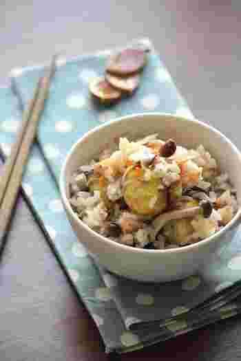 秋にしかいただけない生栗を使った炊き込みごはんです。ほくほくの食感におかわりが止まりません。