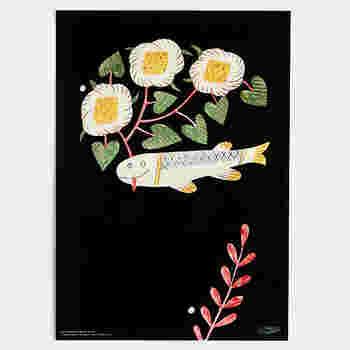 人気作家、鹿児島睦による図案ポスター。「1 FISH」と名づけられたこの作品、愛嬌のある魚の表情がなんともいえない味わい深さです。