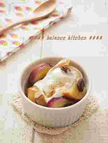 食物繊維たっぷりのお芋とリンゴに、水切りしてコクを出したヨーグルトをトロリ♪ オリゴ糖・乳酸菌も一緒に摂れて、腸内環境によさそうな秋のスイーツです。