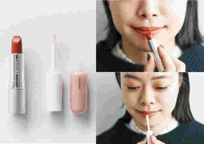 <使用アイテム> 口紅(詰替用) 473/口紅 ケース メタル 1/リップ ジェル 001 1.オレンジ系の口紅を唇全体に直塗りする。 2.ほんのりパール感のある透明なリップ ジェルを唇の中央にのせる。上下の唇をあわせるようにしてなじませるとふっくら立体感がアップ。