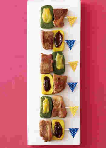 作り置きできる塩豚と生麩のコラボレーションがお口の中で楽しめる「塩豚と生麩のピンチョス」は見た目よりも腹持ちが良く、ソースの色合いも絵になるので是非覚えておきたい一品です。