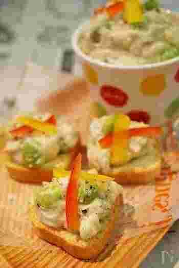 長芋のねっとりとした食感をポテトサラダに。マヨネーズに味ぽんを加えることで爽やかな風味の和風ポテサラに。
