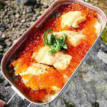 鮭を煮た煮汁でご飯を炊き上げるはらこ飯。お家キャンプなら、キッチンで鮭を煮て、イクラも冷蔵庫で保管しておけるので傷んでしまうこともなく安心です。蒸らすときに、メスティンごとタオルで包んでおくと冷めにくくなります。