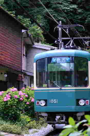 【画像は「御霊神社」付近の一コマ。江ノ電も鎌倉の景色には欠かせません。】