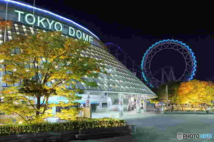 日本初のドーム型球場として1988年に誕生した「東京ドーム」。隣接するエリアには遊園地の「東京ドームシティアトラクションズ」、温泉スパがメインの商業施設「ラ・クーア」、多目的ホールの「後楽園ホール」などがあります。