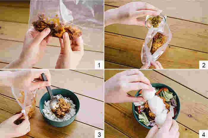 (1)ハンバーグの袋を切らずに全体をくずして混ぜます。 (2)袋の端を切り、クミン、一味唐辛子、ケチャップを入れてよく揉みます。 (3)器に冷たいままのご飯を移し、揉み込んだハンバーグをのせ、フタをしてレンジで[600Wで3分]加熱します。 (4)レンジから取り出したら、カット野菜を盛り、真ん中に温泉卵をのせて出来上がり。