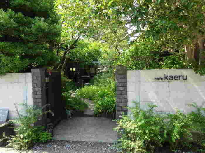 JR鎌倉駅から京急バス「大塔宮行き」で「天神前」下車、徒歩約3分。緑が自由に生い茂っている庭の先にある「cafe kaeru(カフェ カエル)」。