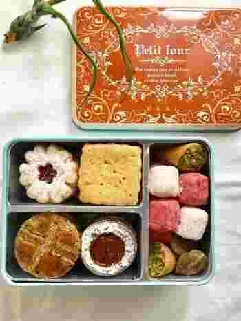 """箱を開けたら色とりどりの焼き菓子がぎっしり。高級鉄板料理の『うかい亭』でコースの最後に出されていたプティフール。""""持ち帰りたい""""というリクエストから生まれた商品が「フールセック」なんです。"""