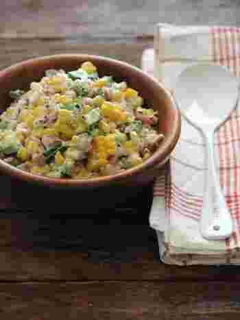 夏はサラダが美味しい季節!夏野菜のとうもろこしをたっぷり使った甘味たっぷりのサラダは朝食にもピッタリ!