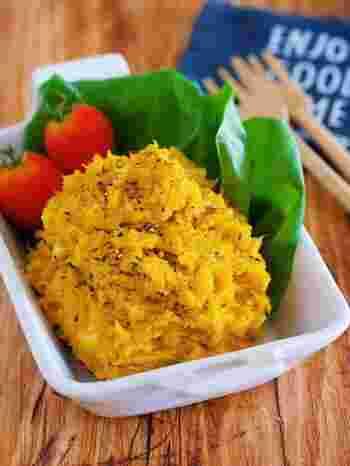 ワンボウル&レンジ調理で作れる、手軽さが嬉しいかぼちゃサラダのレシピ。ツナや鶏ガラスープの旨味を加えるので、甘さを抑えた味になりますよ。