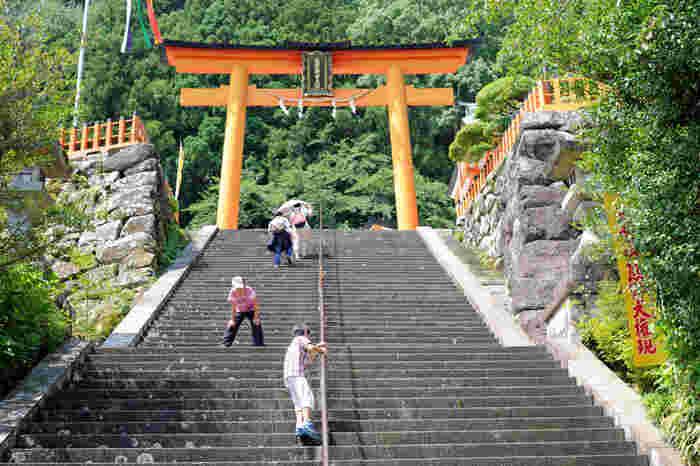 熊野三山のうち、最も華やかな雰囲気を醸し出しているのが熊野那智大社です。堂々たる佇まいの鳥居の朱色と、樹々の緑のコントラストの美しさは格別で、険しい山道を歩いてきた疲れを忘れさせてくれます。