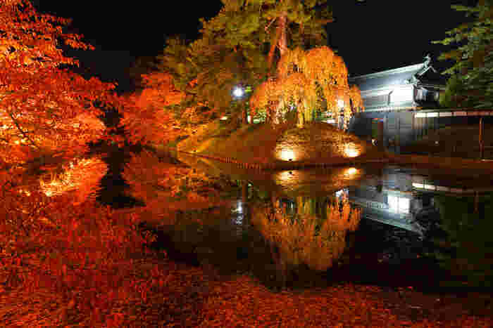 桜の名所として全国的に有名な弘前城。しかし紅葉の季節には見事に木々が赤く色づき、水面に反射して見事な赤の世界を作り出します。夜間には特別ライトアップが行われ、より幻想的な雰囲気に。