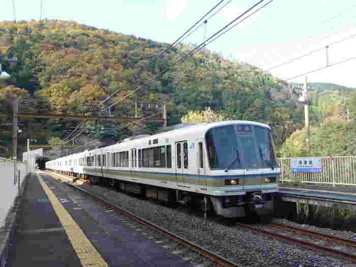 京都府京都駅と山口県幡生駅を結ぶ山陰本線沿線の保津峡駅は、京都市内を悠然と流れる保津川(桂川)上に造られた無人駅です。