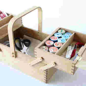 ミシン糸は円筒形のものに巻かれているのが特徴。そのままミシンにセットして使うための工夫された形です。