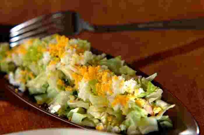葉が柔らかい春キャベツは、ぜひフレッシュに生でいただきましょう。卵を使ったミモザサラダは、春らしい色合いで可愛らしいですね。この季節ならではの味わいをぜひどうぞ。