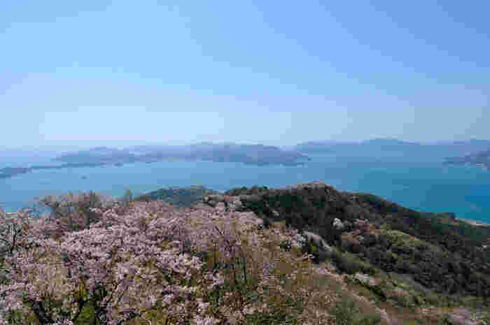 岩城島の中央にそびえる積善山(せきぜんさん)は、標高369.8メートルの山で、山頂からは瀬戸内海の素晴らしい眺望が広がっています。また、春が訪れること地元の人々が50年以上もの歳月をかけて育てた三千本桜が一斉に花を咲かせ、その美しさは「天女の羽衣」と称されるほどです。