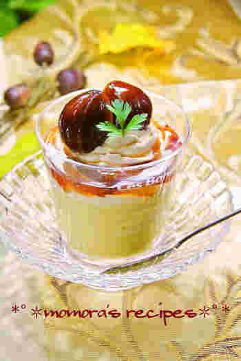 栗の渋皮煮のシロップを使用した、秋の美味しさあふれるプリン。モンブランのような味わいを楽しめます。