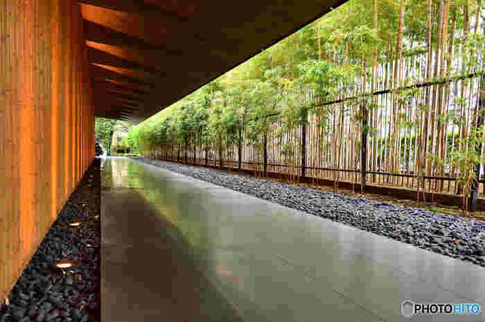 日本を代表する建築家、隈研吾による建物。 自然の素材、竹などをふんだんに使用した、現代的でありながら自然のぬくもりも感じさせる独特の雰囲気。