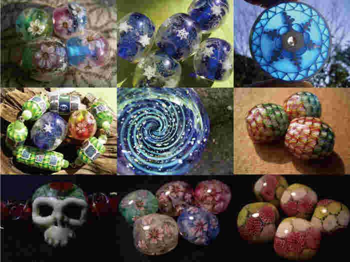 とんぼ玉とは3000年以上前から作られていると言われるガラス製のビーズ。今はバーナーでさまざまな色のガラスを融かして制作します。微妙な火加減やさまざまな工夫をして技術をマスターしていくと、自由な形の模様をガラスの中に閉じ込めた作品も作ることができます。