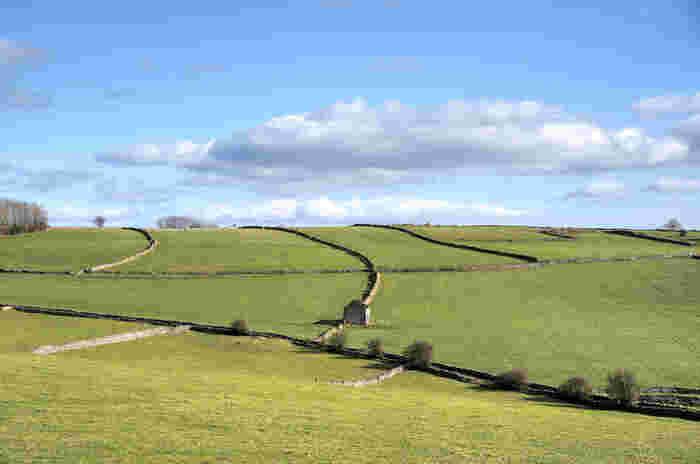 果てしなく続く丘陵地帯は地平線が見えるほど広大です。緑豊かな農耕地、石造りの散策道、空に浮かぶ白い雲が織りなす景色は、私たちが想い描くイギリスの原風景そのものです。