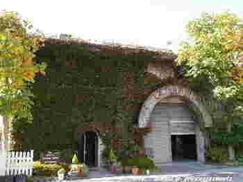 """ツタに覆われた素敵な外観。フランス風のとってもお洒落な入口が私達を迎えてくれます。甲州ワインと言えば""""グレイス""""といわれる程。日本ワインの代表格的存在。"""