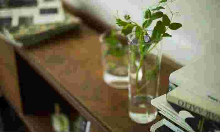 お花屋さんで花束を買ってこなくても、野の花を一輪そっと飾るだけでも、お部屋の雰囲気は一変します。