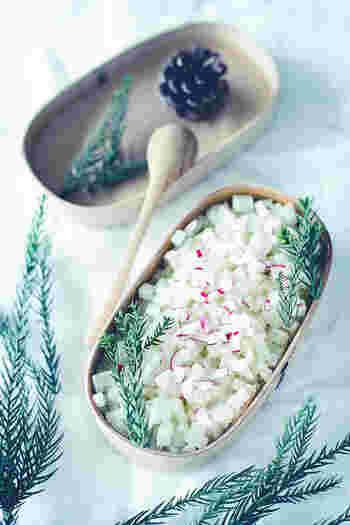 淡泊な大根にバターがぐんぐんしみ込みます。そぼろごはんなど丼物の上にのせるなど、料理のアクセントとして使えます。