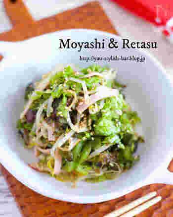 普段は付け合わせなどによく使われるサニーレタスですが、実は緑黄色野菜に分類され、β-カロテンをたくさん含んでいます。このレシピならもやしと一緒にモリモリ食べられますよ。