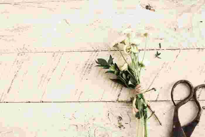 いただいた花や庭に咲いた季節の花々。お気に入りの花々で花束を作りましょう。好きな植物をドライフラワーにする工程も簡単で、フレッシュな状態からドライフラワーになるまでの間も楽しめます。うまく乾燥させるには湿気の多い梅雨時期を避けましょう。