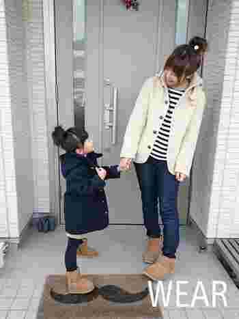 ママとおそろいで着るのもいいかも♪ 親子ペアのコートでお出かけするのも楽しいですね。
