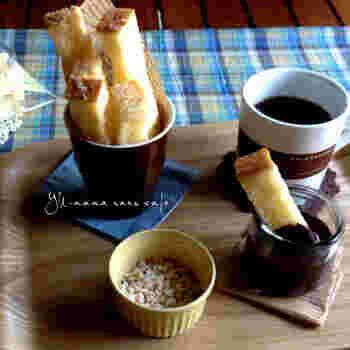 余った食パンをラスクにして、チョコをディップして召し上がれ♪サクサクのラスクの食感がたまりません。
