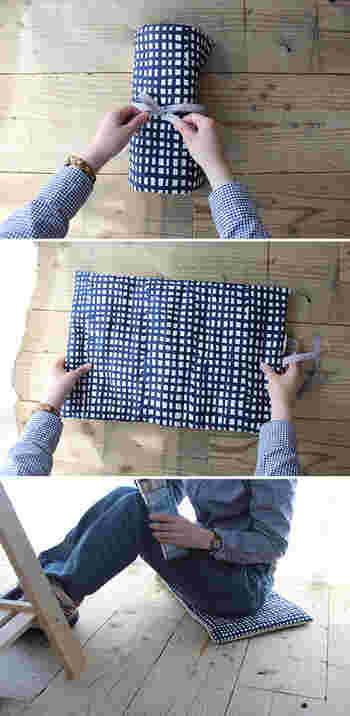 お花見やピクニックにあるとうれしい、折りたためる小さな座布団。座ったり、丸めたものを枕がわりに使っても◎。