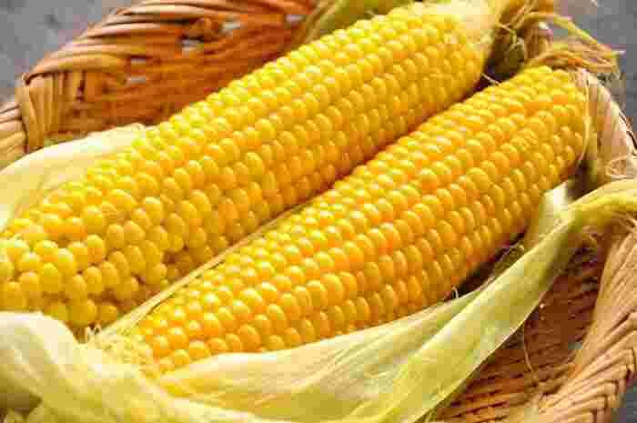 世界三大穀物の一つである『とうもろこし』。旬のものは、みずみずしく甘いのが特徴です。主成分は、エネルギー源となる糖質で、その他に食物繊維やビタミン、ミネラルなどがバランスよく含まれています。
