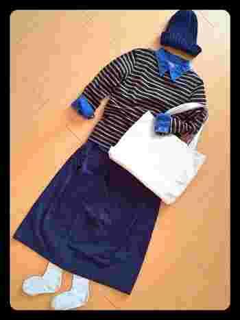 デニムシャツをINして、流行のエリ出しスタイルに。 オーシバルのボーダーと、他のアイテムとの絶妙な 色合いがオシャレです!