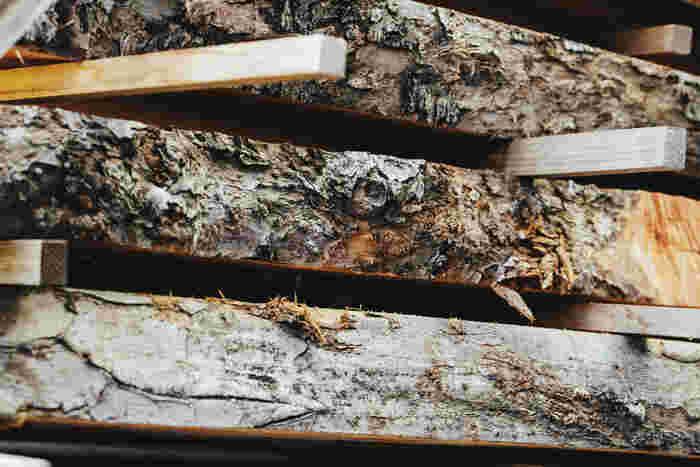 労力とリスクを伴う作業を終え、ようやく形になった木材は、半年ほど桟積みで天然乾燥させる。本来であれば3年が望ましいが、できるだけ早く製品を届けるため、人工乾燥機を併用している。写真は30年以上前の古木。とても状態のよい木なので大切にとってある、と木村さん