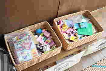 小さくて数が多いレゴブロックは、収納ケースにまとめて。