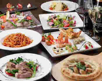 アラカルトはもちろんパーティコースのメニューもあります。お友達や家族などと一緒にいろいろなお料理を楽しむのもいいですね。