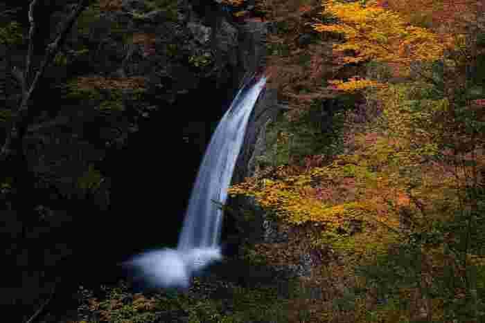 落差20メートルの滝百選に選ばれたのが、「大釜の滝」。 季節の紅葉の美しさも共に見られると、最高の景観です。