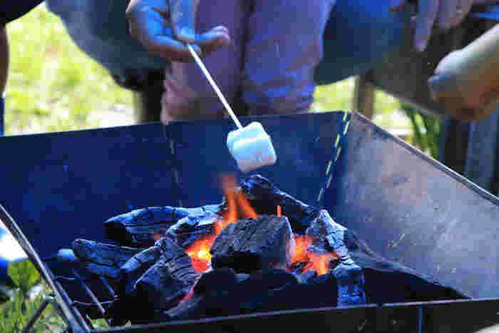 焚き火を眺めながらマシュマロを焼いてみるのもオススメです。大人も子どももワクワクしてしまいますね。焚き火の回りでゆっくり語らう時間は、何にも代えがたい時間となるはず。