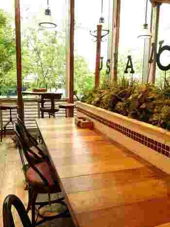 植物がディスプレイされたナチュラルな雰囲気の店内。天井も高く開放的です。お隣にあるインテリアショップ「ジャーナルスタンダード ファニチャー」のセンスも感じられます。
