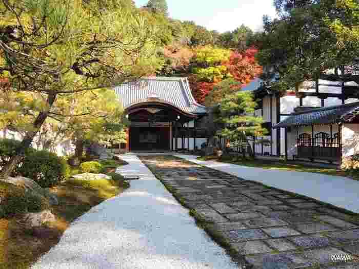 境内の東に位置する南禅寺の「方丈」は、大方丈と、それに続く背後の小方丈からなります。大方丈は、安土桃山期の御所・清涼殿を、また小方丈は、伏見城の小書院を移築したもので、共に国宝に指定されています。【11月下旬の大方丈入口。】