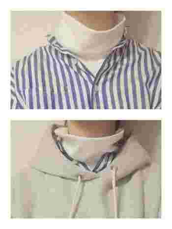タートルネック+シャツの組み合わせは、見せ方が1つではないのが面白いところ。ブルーストライプシャツに白のタートルネックは清廉で上品な雰囲気。+スウェットを合わせて、カジュアル&スポーティーに。ブルーの分量で印象が随分変わることがわかりますね。