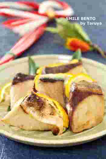 塩をしたブリに柚子のスライスをはさみ、グリルで焼くだけ。ブリのコクに柚子の清涼感が加わり、さっぱりといただけます。