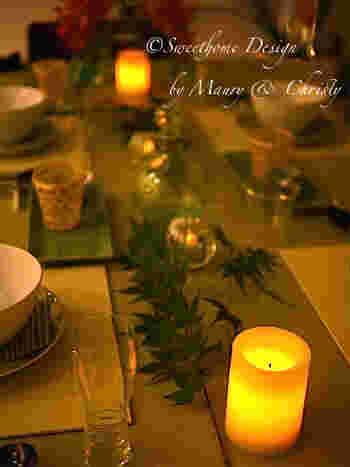 七夕の夜は、キャンドルやグリーンを使って、大人な雰囲気のテーブルコーディネイトを楽しんでみたいですね。
